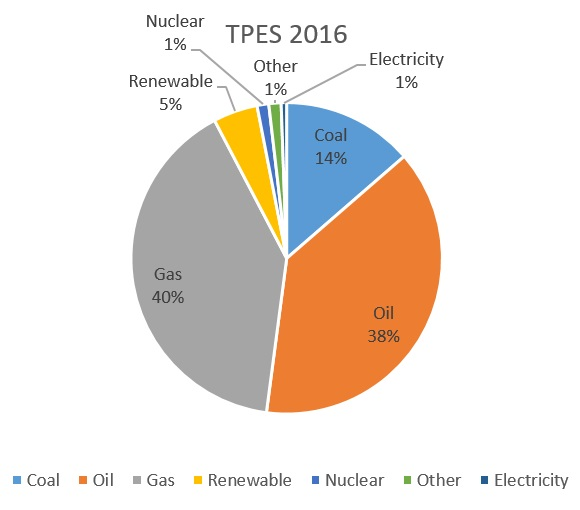 Total Primary Energy Supply in the Netherlands – 2016 (based on CBS, 2017).